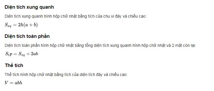 cong thuc tinh the tich hinh hop chu nhat