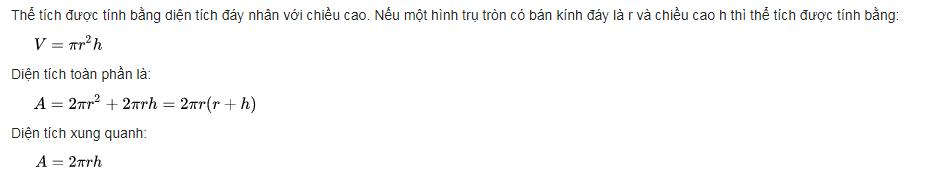 Cong thuc tinh the tich hinh tron