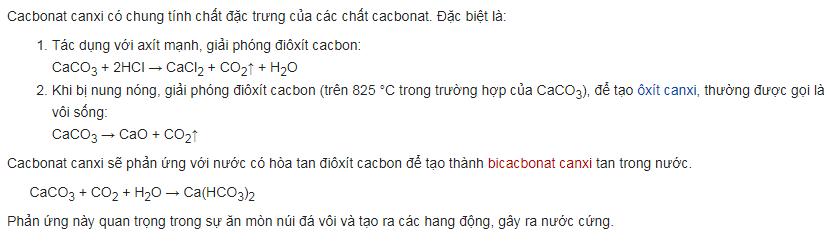tinh chat cua Cacbonat canxi